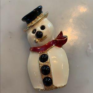 Kirks folly enamel snowman pin brooch